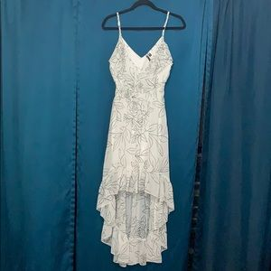 White Dress with Black Floral pattern